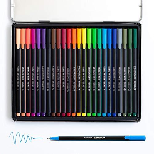 Fineliners by Scribbles That Matter - 24 Sätze - 0,7 mm Spitzen - Farbige säurefreie, geruchlose Tinte - Schnelltrocknend - Perfekt zum Aufzeichnen, Schreiben, Zeichnen -Zubehör