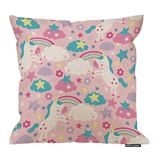 QUEMIN Unicorn Pillow Case,Funny Pink Unicorn and Rainbow Pattern Cotton Linen Polyester Decorative Home Decor Sofa Couch Desk Chair Bedroom 18x18inch