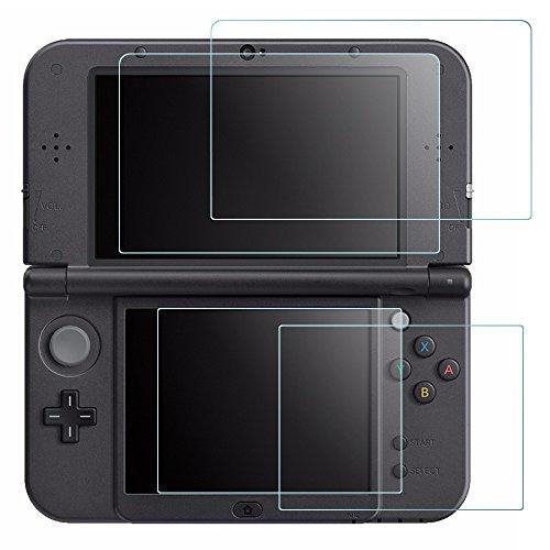 Display Schutz für Nintendo Neue 3DS XL, AFUNTA 4Pcs gehärtetes Glas für Top Screen und HD Clear Crystal PET Film für unteren Bildschirm, 3DS XL Film Zubehör