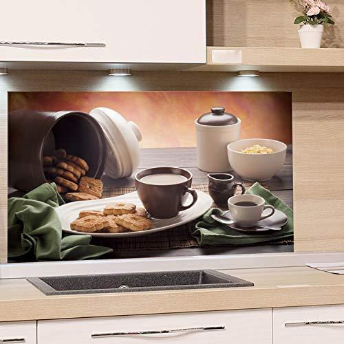 GRAZDesign Wandpaneele Frühstück - Fliesenspiegel Tisch mit Tasse Kekse Dose Schale - Küchenrückwand Glas Küchenbilder / 60x40cm