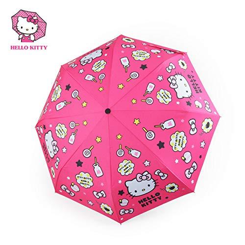 NJSDDB paraplu Hello Kitty Anti Uv Paraplu Regen Vrouwen Paraplu's Regenschirm Anime Parasol Polyester Fibre De Omgekeerde Paraplu, Rood