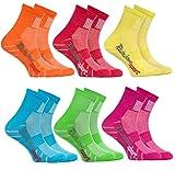 Rainbow Socks - Niño Niña Calcetines Deporte Colores Algodón - 6 Pares - Naranja Rojo Amarillo Azul Verde Rosa - Talla 24-29