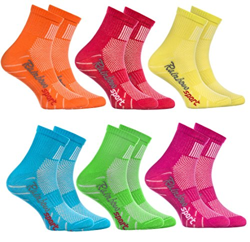 Rainbow Socks - Jungen Mädchen Sneaker Bunte Baumwolle Sport Socken - 6 Paar - Orange Rot Gelb Blau Grün Rosa - Größen 30-35