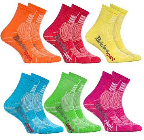 Rainbow Socks - Jungen Mädchen Sneaker Bunte Baumwolle Sport Socken - 6 Paar - Orange Rot Gelb Blau Grün Rosa - Größen EU 30-35