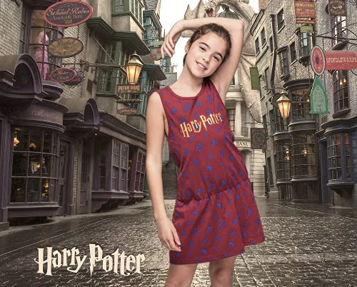 Harry Potter Vestido de Niña, Vestido Manga Corta, Ropa para Niñas, Vestido de Verano, Regalo de Niña, Talla 8 Años