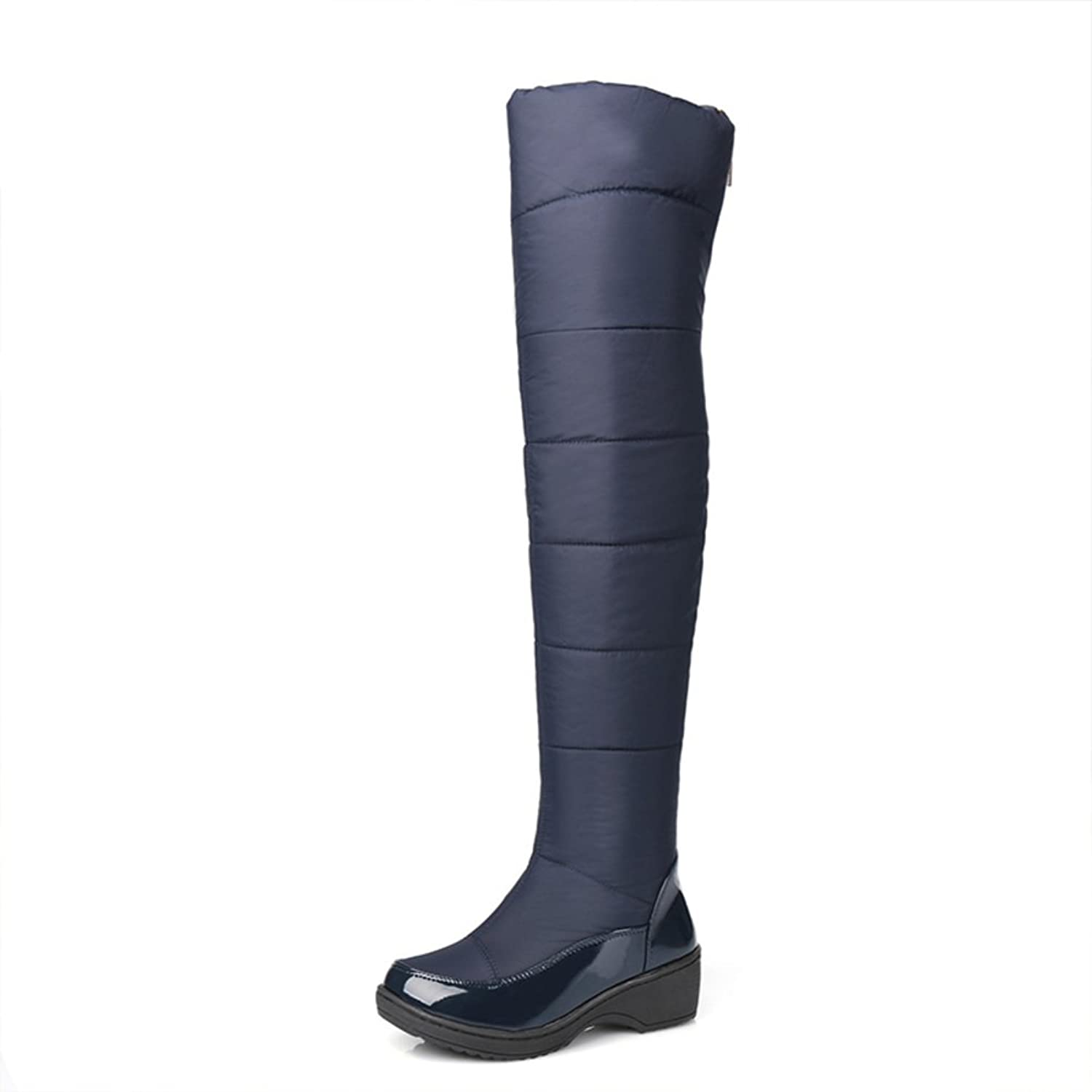 RHFDVGDS Fashion over the knee boots Thick warm down winter boots in winter wind and Lady boots