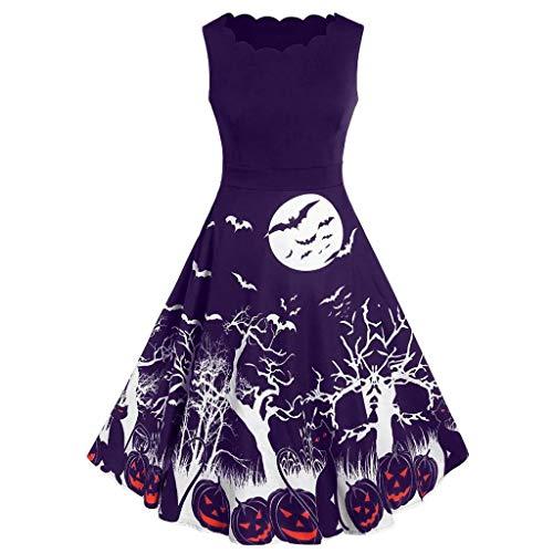 Kleid Halloween Kostüm Damen Ärmellos Cocktailkleid Rockabilly Langarm Fledermaus Drucken Halloween Formalkleid Partykleid Abendkleid-Vintage Kleid-Karnevalskostüme URIBAKY
