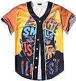 PIZOFF Men's Short Sleeve Baseball Team Jersey Shirt with Cartoon King of Hip Hop Print - Y1724-59- Medium Orange