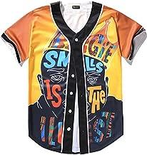 PIZOFF Men's Short Sleeve Baseball Team Jersey Shirt with Cartoon King of Hip Hop Print - Y1724-59- Small Orange