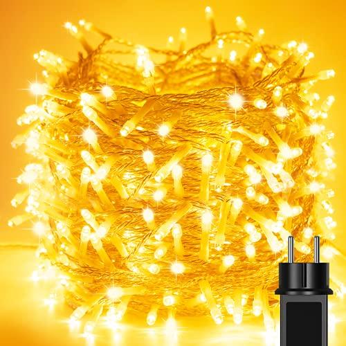 Litogo Guirnalda Luces, 【20M 200 LED】 Caden de Luces con Enchufe 8 Modos Guirnaldas Luminosas Impermeable Luces de Hada DC 31 V Cadena Luces Decora para Interior y exterior Fiesta Patio, Blanco Cálido