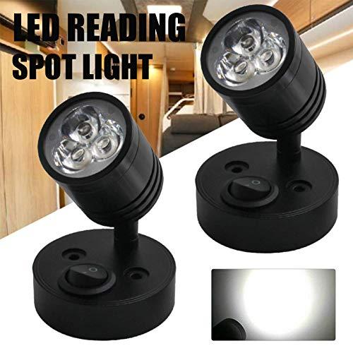 Premium 2 piezas 12 V-24 V luz de lectura para interior de la mesita de noche, cabeza ajustable para RV, caravana, caravana, caravana, caravana, yate, T4, T5, T6, lámpara de pared
