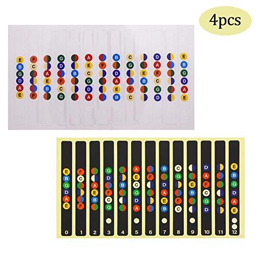 4Pcs Gitarren Noten-Aufkleber für das Griffbrett, Kinderleicht Akkorde und Noten Lernen Ideal für Akustikgitarre E-Gitarre Westerngitarre und Ukulele