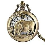 ERYHF Taschenuhr Antike Taschenuhr Bronze Chinese Zodiac Cattle Pattern Fob Uhren Halskette Anhänger Männer Frauen Steampunk reloj de bolsillo, Slim Chain