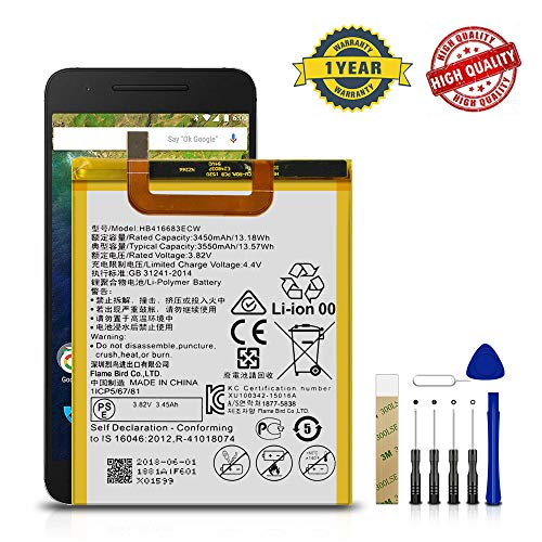 for Huawei Google Nexus 6P H1512 Replacement Battery HB417094EBC Free Adhesive Tool