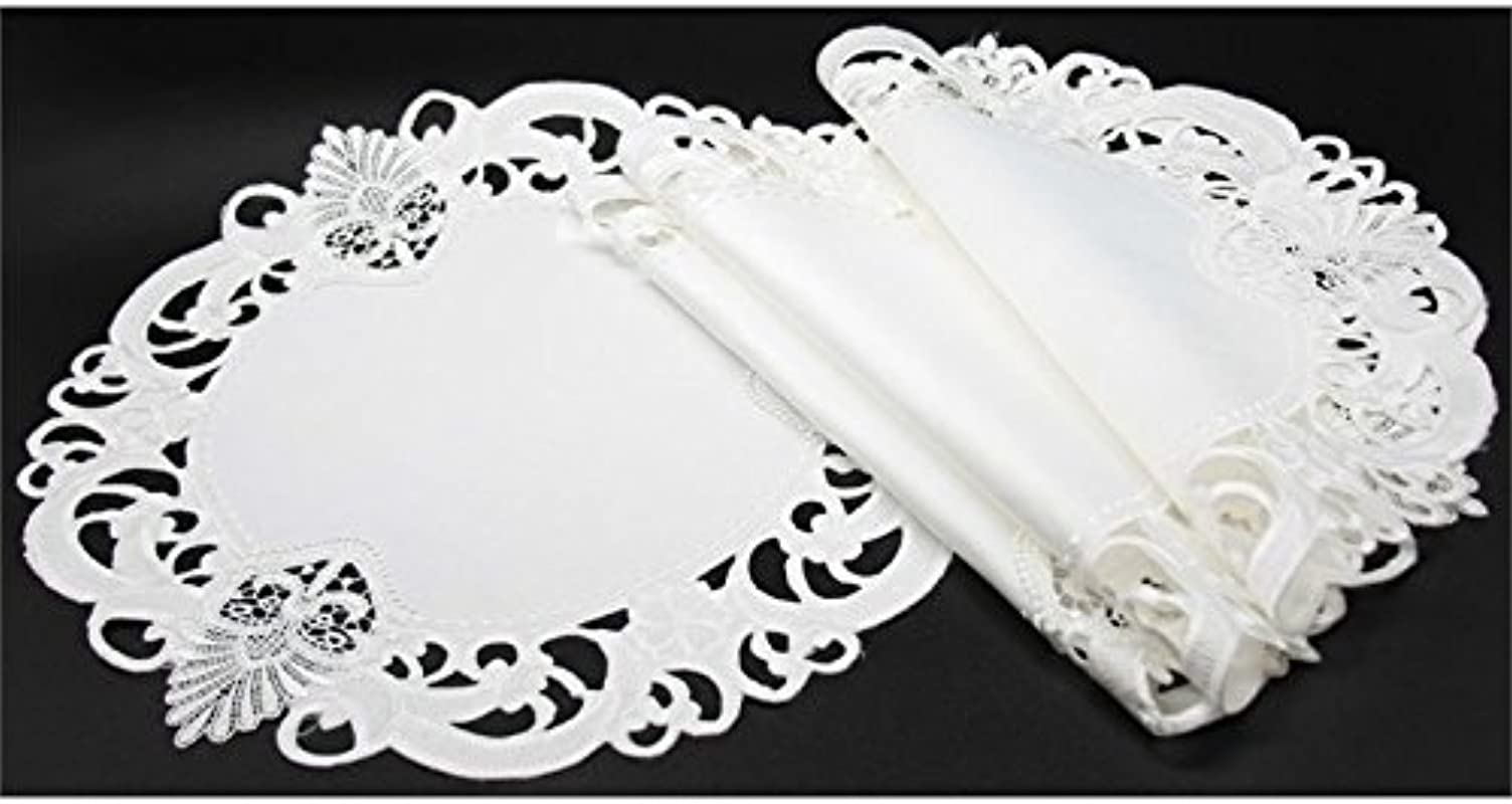 Xia Home Fashions Delicate Lace Embroidered Cutwork Placemats 16 Inch Round Set Of 4