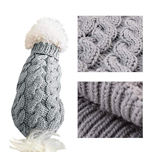 Warm Dog Jumper/Sweater, Cute Turtleneck Knitted Vest for Autumn/Winter recommended for Small Dogs, Available in colours Pink and Grey, Sizes S,M and L (Grey, Large)