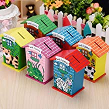 ZHENGTU Piggy Bank for Kids Wood House Animal Designs, Multi Color Educational Learning Toys Perfect Return Gift for Kids Birthday Party (Pack of 4)