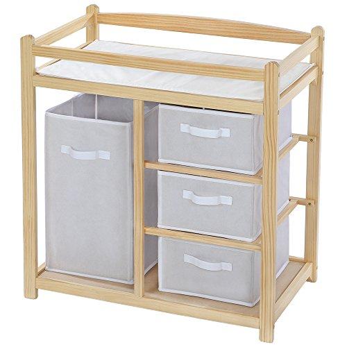 Cambiador de pañales para bebés mueble cómoda estante con 4 cestas
