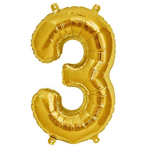 ballonfritz® Ballon Zahl 3 in Gold - XXL 40