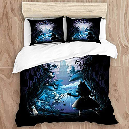 Duvet Cover Set Queen/Full Size Inside a Dream Alice in Wonderland Cheshire Cat Comforter Cover Set Ultra Soft 3Pcs Comforter Cover Set 1 Duvet Cover with Zipper and 2 Pillowcases