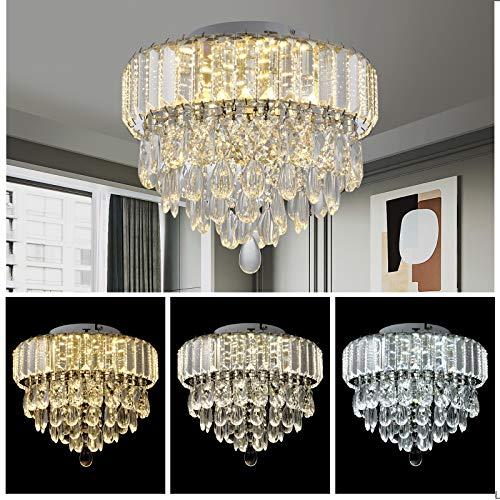 Modern K9 Crystal Ceiling Light LED Flush Mount Ceiling...