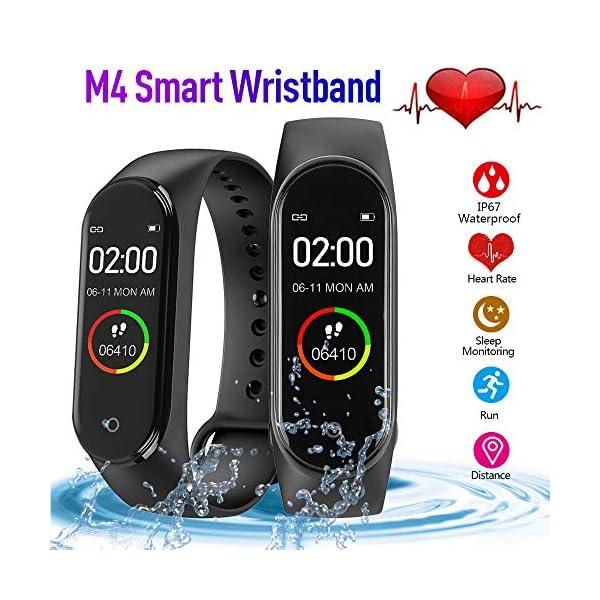 bqlove M4 Fitness Tracker, Reloj De Seguimiento De Actividad con Monitor De Ritmo CardíAco, Banda De Fitness Inteligente… 4