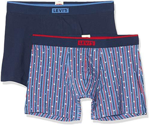 Levi's Levis Men Logo Stripe AOP Boxer Brief 2p, Azul (Riverside Blue 003), Large (Talla del Fabricante: 030) (Pack de 2) para Hombre