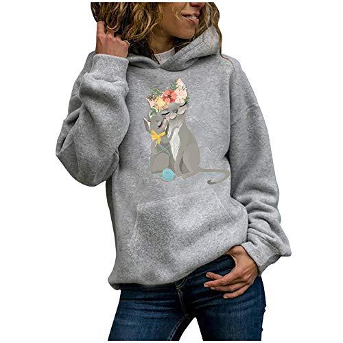 Kapuzenpullover Damen Casual Hoodies Sweatshirt Langarmshirts Cat Print Pullover Tops...