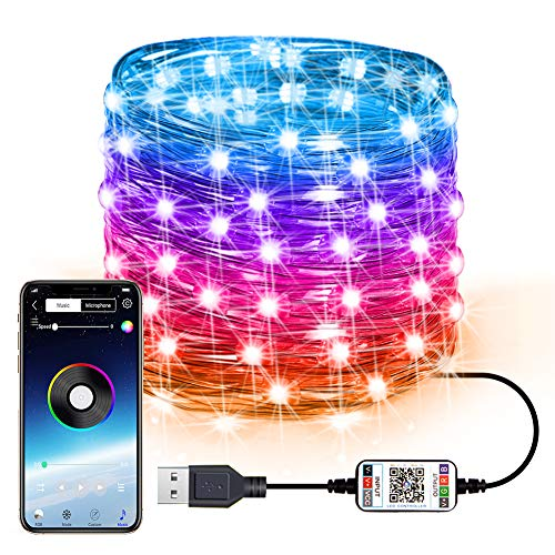 Fairy String Lights USB Fairy Lights Plug in Color Changing Led String Lights RGB Starry Lights Sync to Music Firefly String Lights Bluetooth APP Timer Twinkle Wire String Lights Bedroom (16.4FT/5M)