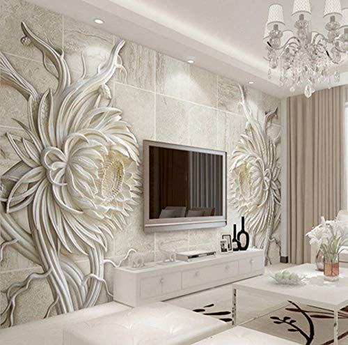 Lsfhb Papel Tapiz Mural 3D Personalizado Estilo Europeo Tallado En Piedra Flores Bajo El Sol Dormitorio Tv Fondo Mural De Pared Papel Pintado En Relieve 3D Fondos De Pantalla-250X175Cm