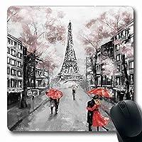 マウスパッド傘水彩愛パリヨーロッパ抽象都市カップルアーチハウス長方形7.9 X 9.5インチ滑り止めゲーミングマウスパッドラバー長方形マット 18x22cm