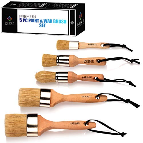PROFESSIONAL CHALK AND WAX PAINT BRUSH 5PC Master SET!!!! Large DIY Painting and Waxing Tool | Smooth, Natural Bristles | Folk Art, Home Dcor, Wood Projects, Furniture, Stencils | Reusable