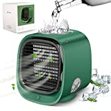 Mini Portable Air Conditioner Fan,Add Ice Cubes/Water,(4 In 1 Design) Personal Space Evaporative Air Cooler Fan With 3-Speed and Humidifier For Bedroom Home Office