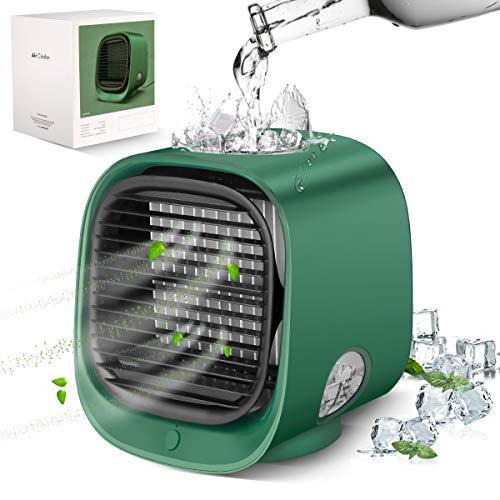 Mini ventilador de aire acondicionado portátil, añadir cubitos de hielo y agua, diseño (4 en 1) Personal Space Evaporativo ventilador de aire con 3 velocidades y humidificador para recámara, hogar u oficina