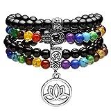 Jovivi 108 Buddha Chakra Armband aus Edelstein 6mm Perlenarmband mit OM Hamsa Hand Lotus Anhänger Wickelarmband Mala Kette