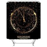 Daesar Cortinas de Baño 2019 Reloj Merry Christmas Happy New Year Oro Negro Cortina de Baño Poliester Cortina de Baño Antimoho 165x200 CM