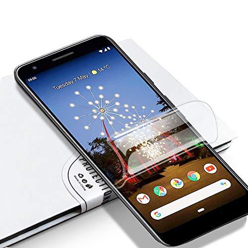 LZS Protector de Pantalla Google Pixel 3A, Membrana Protectora de hidrogel de Membrana Flexible Totalmente Cubierta sin Agua pulverizada. Diseñado para Pantallas de teléfono curvadas