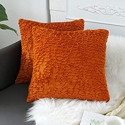 sykting Burnt Orange Pillow Covers Soft Plush Faux Fur Fuzzy Throw Pillow Cases Decorative for Couch Sofa Bed Chair 20x20 inch Pack of 2