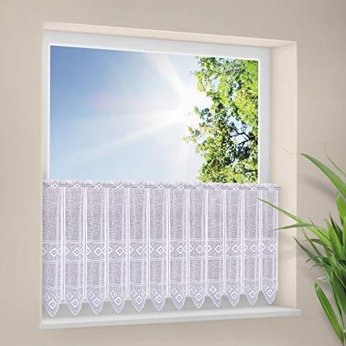 Scheibengardine grafisch 60 cm hoch   Breite der Gardine durch gekaufte Menge in 30 cm Schritten wählbar (Anfertigung nach Maß)   Weiß   Vorhang Küche Wohnzimmer