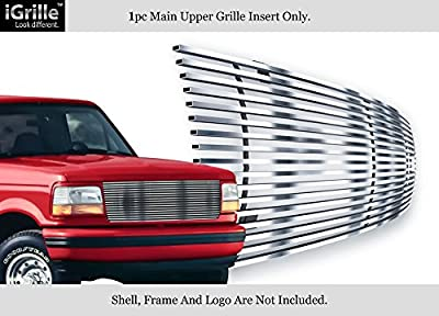 APS Stainless Steel 304 Billet Grille Compatible with 1992-1996 Bronco F-150 F-250 F-350 Polished Chrome F85007S