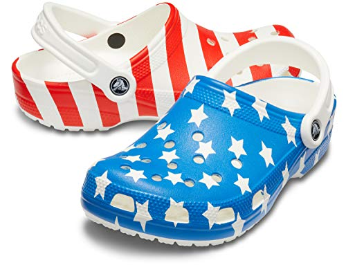 Crocs Classic American Flag Clog, white/multi, 15 US Women / 13 US Men