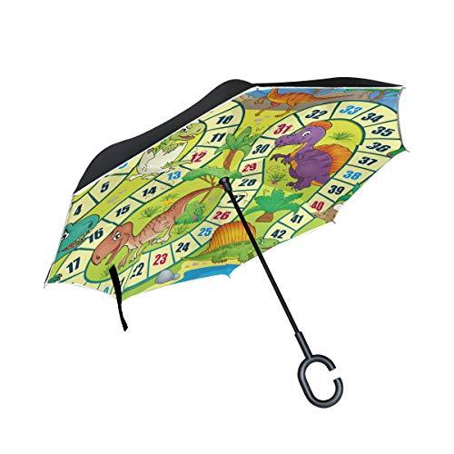 ALINLO Umgekehrter Regenschirm, Cartoon-Dinosaurier, Kinderspielzeug, doppellagig, umgekehrter Regenschirm, wasserdicht für Auto, Regen im Freien, mit C-förmigem Griff
