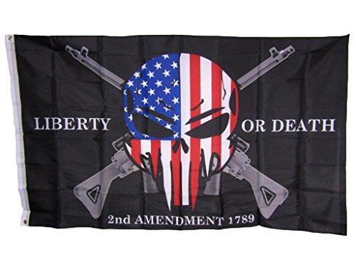 3x 5Freiheit oder Tod 2nd änderungsantrag USA Punisher Totenkopf Gewehre 1789Flagge 3