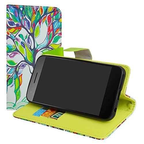 LiuShan Vodafone Smart E8 Hülle, Brieftasche Handyhülle Schutzhülle PU Leder mit Kartenfächer & Standfunktion für Vodafone Smart E8 Smartphone (mit 4in1 Geschenk verpackt),Love Tree