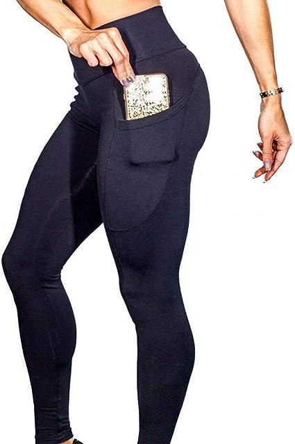 Womens High Waist Gym Leggings Pocket Fitness Sports Running Train Yoga Pants