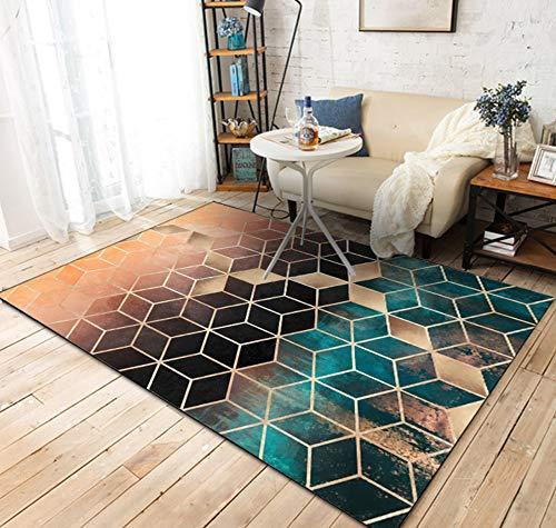PYQK Teppich Wohnzimmer Schlafzimmer Kinderzimmer Mode Dunkelgrün Gold Schwarz Farbverlauf Diamantgitter Tür Küche Matte 120X160 cm