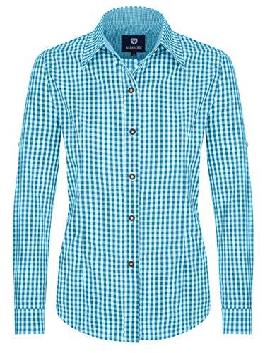 ALMBOCK Trachtenbluse Damen langarm - Karierte Bluse hellblau türkis kariert aus 100% Baumwolle - Festliche Blusen in Größe 34-46