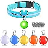 AJOXEL 6 PCS Luz para Perros LED con Collar Perro, Collar de Perro con Luz LED Collar de Seguridad LED para Perros, 3 Modos Intermitente Luces Batería Incluida con 6 Pilas de Repuesto