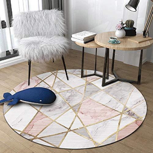 WJW-DT Tapis de Tapis Rond Gris Rose pour Salon Chambre couloirs Style géométrique diamètre 80100120140160180200 cm-180cm
