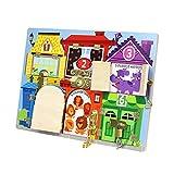 TOYANDONA Placa Criança Placa Brinquedo De Madeira Montessori Fechaduras E Travas Ocupado Ocupado Aprendizagem Placa de Trava de Habilidades Básicas Preschool Brinquedo para Crianças